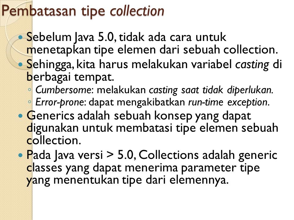 Pembatasan tipe collection