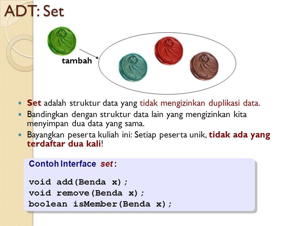 ADT: Set tambah. Set adalah struktur data yang tidak mengizinkan duplikasi data.