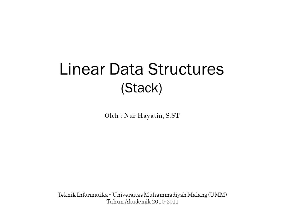 Linear Data Structures (Stack)