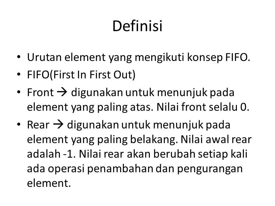 Definisi Urutan element yang mengikuti konsep FIFO.