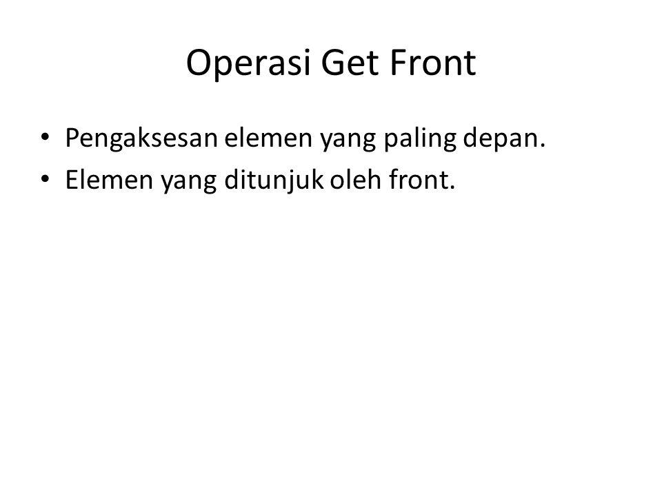 Operasi Get Front Pengaksesan elemen yang paling depan.