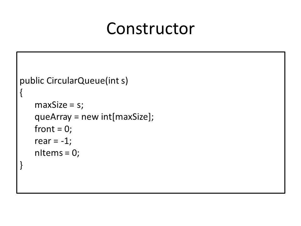 Constructor public CircularQueue(int s) { maxSize = s;