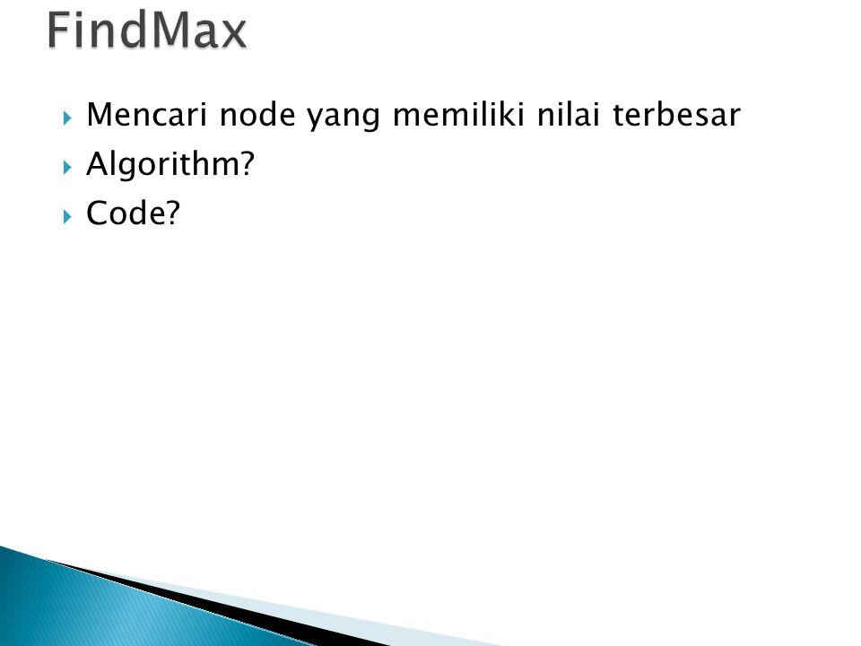 FindMax Mencari node yang memiliki nilai terbesar Algorithm Code