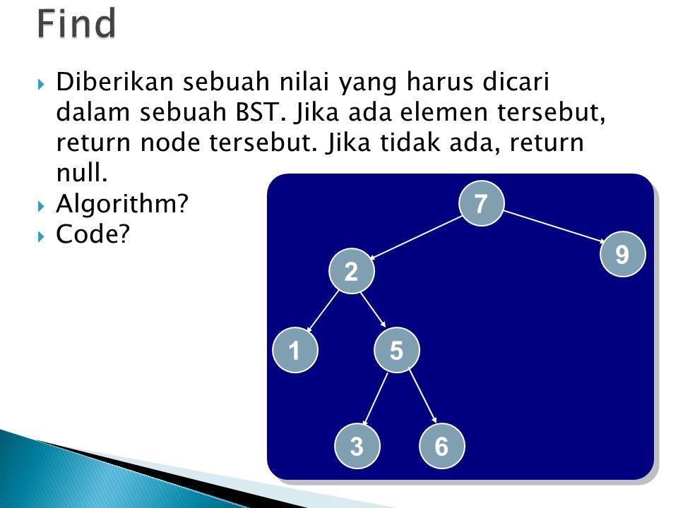 Find Diberikan sebuah nilai yang harus dicari dalam sebuah BST. Jika ada elemen tersebut, return node tersebut. Jika tidak ada, return null.