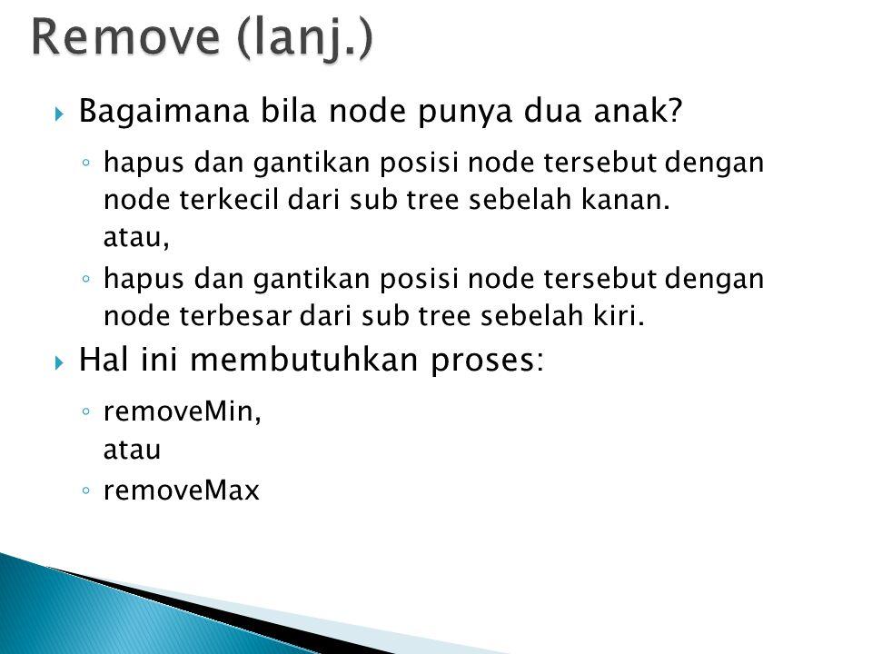 Remove (lanj.) Bagaimana bila node punya dua anak