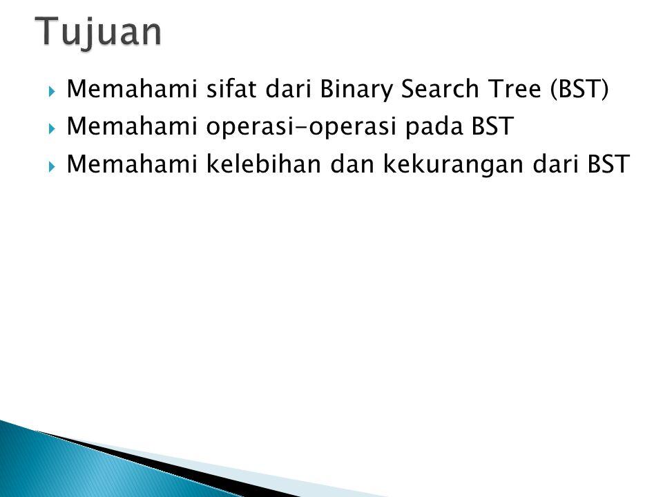 Tujuan Memahami sifat dari Binary Search Tree (BST)