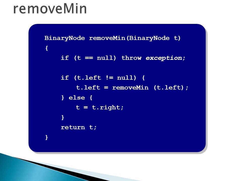 removeMin BinaryNode removeMin(BinaryNode t) {