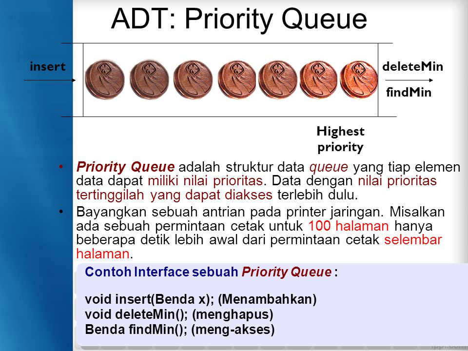 ADT: Priority Queue Highest priority. insert. deleteMin. findMin.