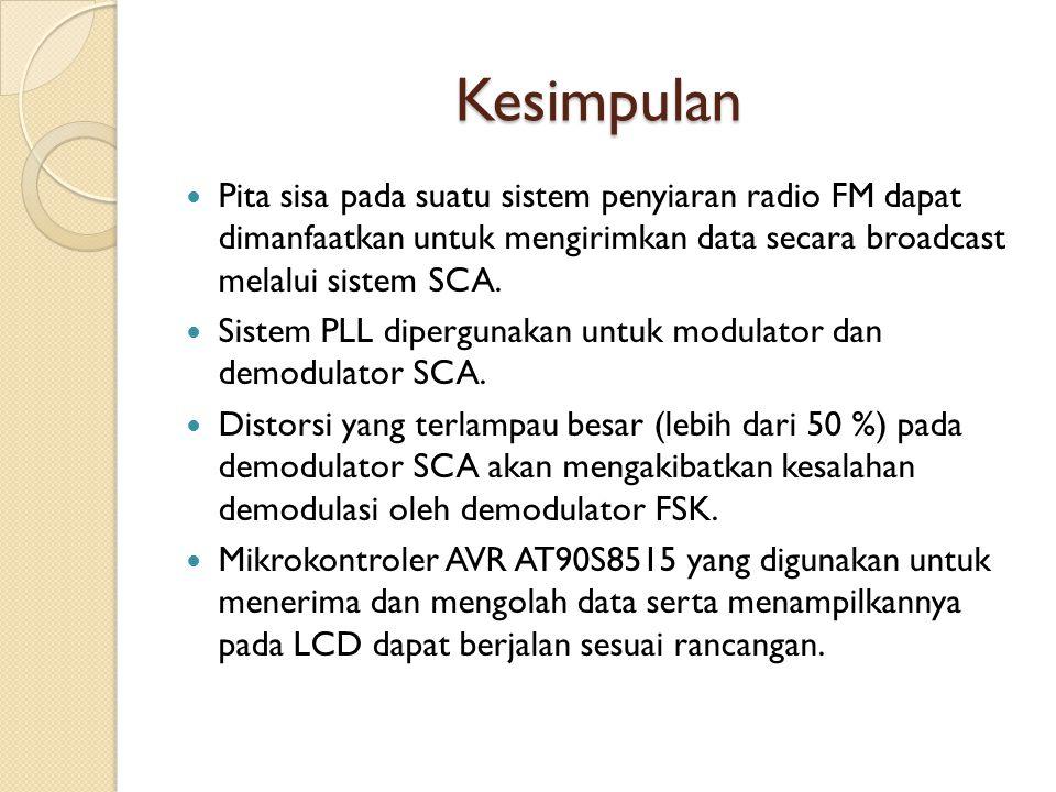 Kesimpulan Pita sisa pada suatu sistem penyiaran radio FM dapat dimanfaatkan untuk mengirimkan data secara broadcast melalui sistem SCA.