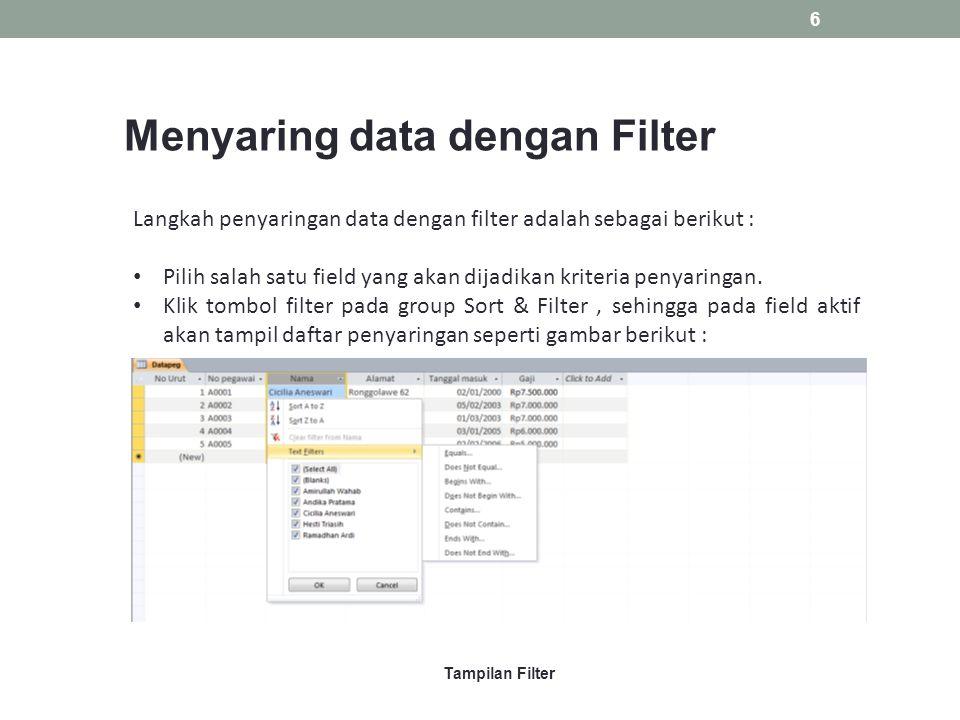 Menyaring data dengan Filter