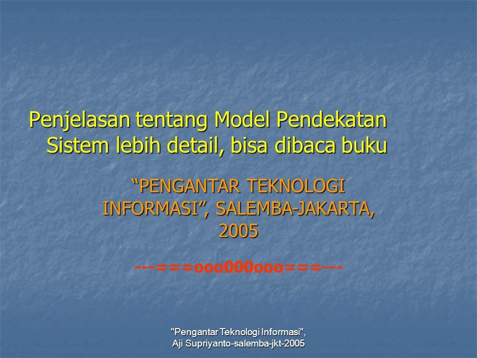 Penjelasan tentang Model Pendekatan Sistem lebih detail, bisa dibaca buku