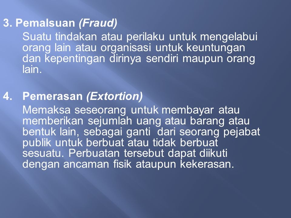 3. Pemalsuan (Fraud)