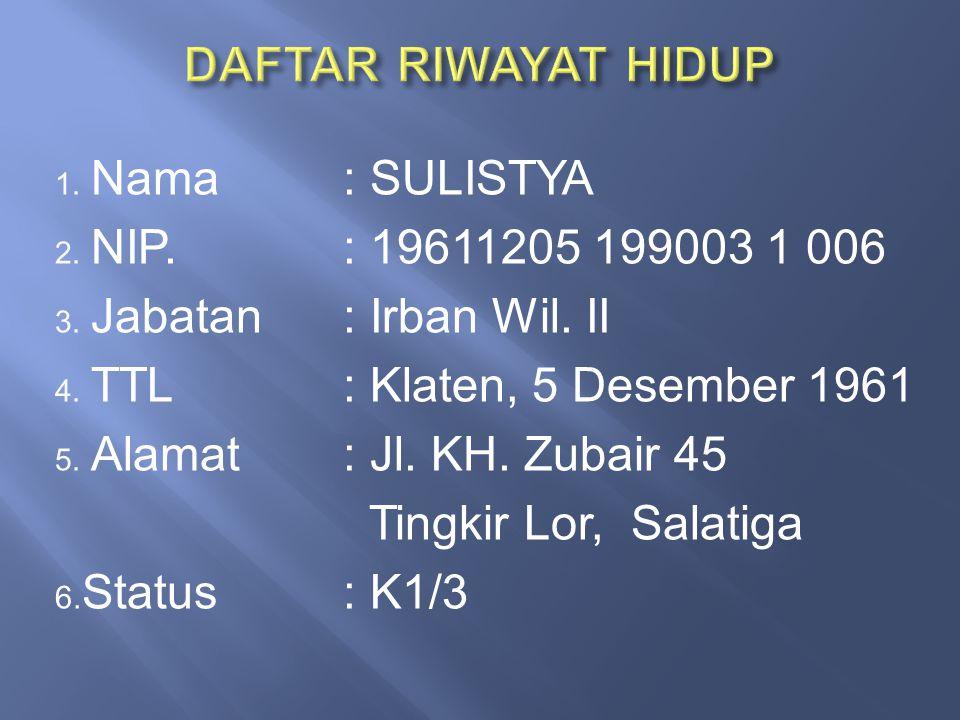 DAFTAR RIWAYAT HIDUP Nama : SULISTYA NIP. : 19611205 199003 1 006