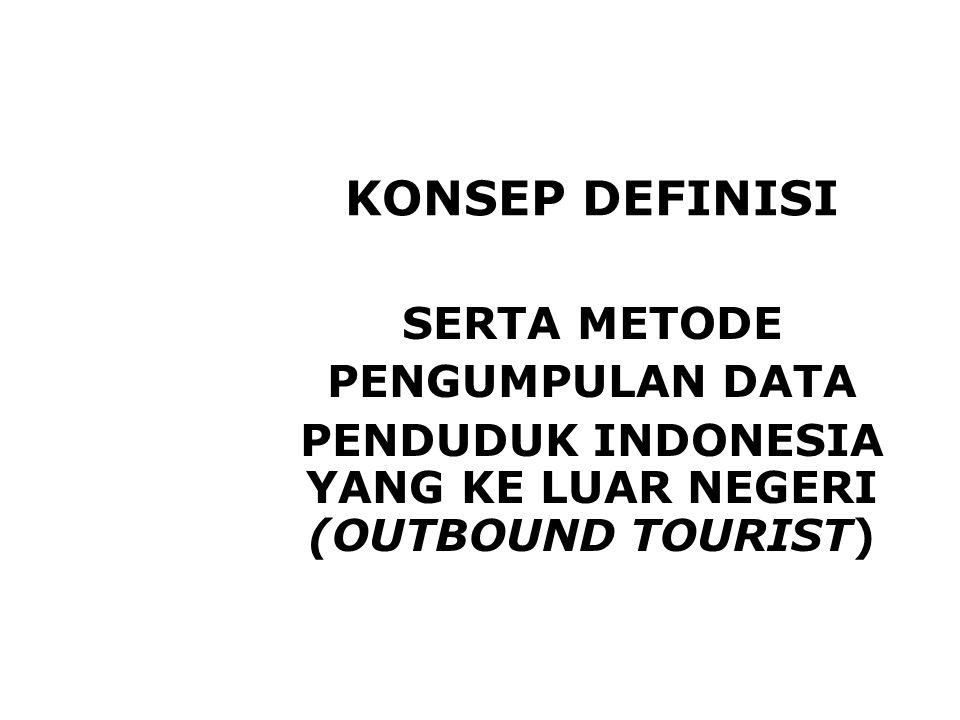 PENDUDUK INDONESIA YANG KE LUAR NEGERI (OUTBOUND TOURIST)