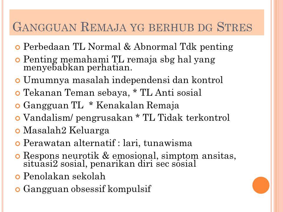Gangguan Remaja yg berhub dg Stres