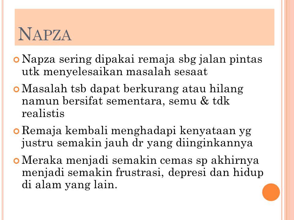 Napza Napza sering dipakai remaja sbg jalan pintas utk menyelesaikan masalah sesaat.