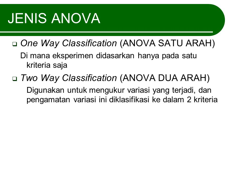 JENIS ANOVA One Way Classification (ANOVA SATU ARAH)