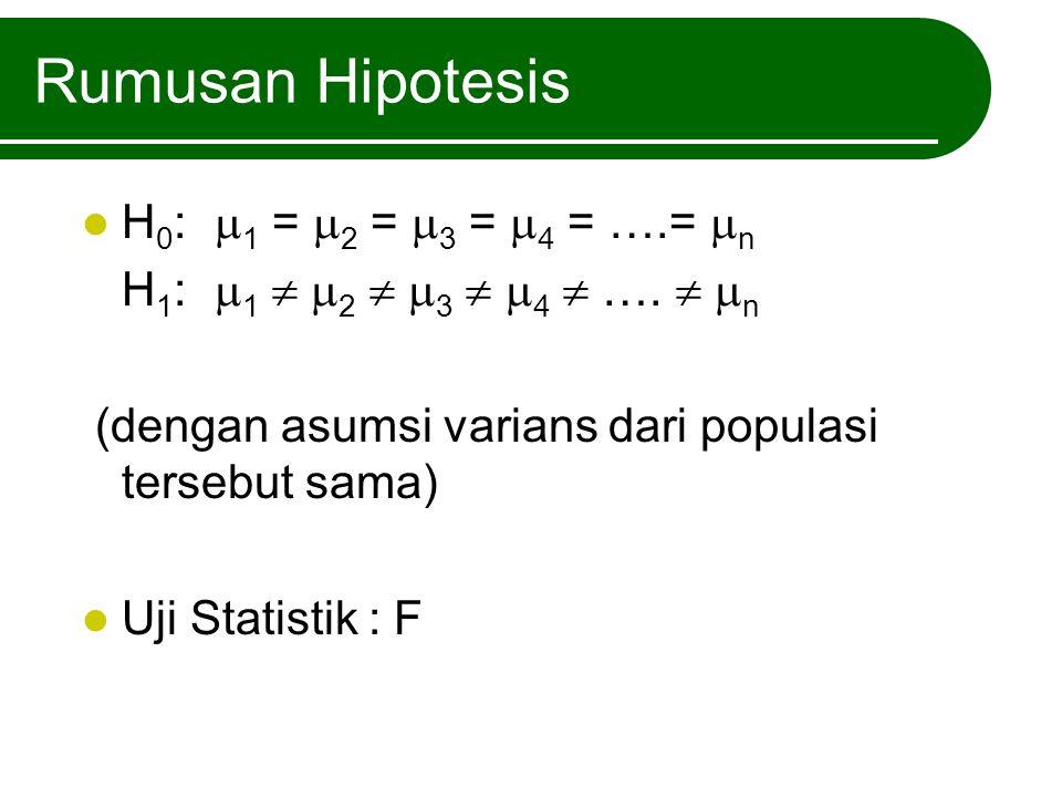 Rumusan Hipotesis H0: 1 = 2 = 3 = 4 = ….= n