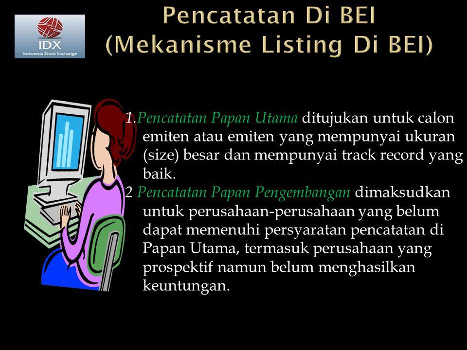 Pencatatan Di BEI (Mekanisme Listing Di BEI)