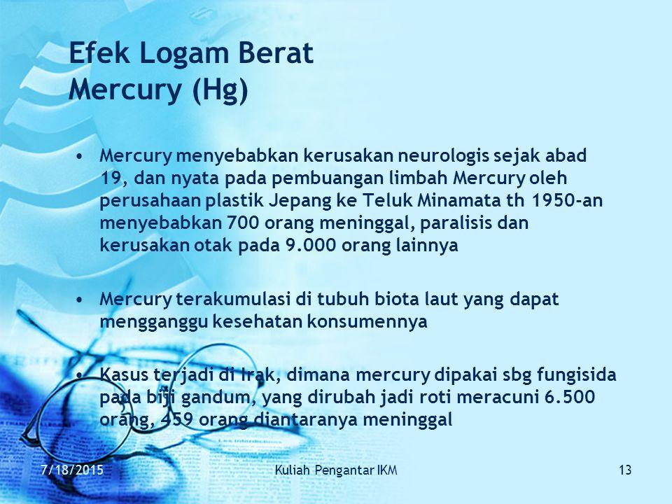 Efek Logam Berat Mercury (Hg)