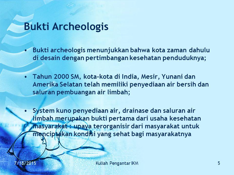 Bukti Archeologis Bukti archeologis menunjukkan bahwa kota zaman dahulu di desain dengan pertimbangan kesehatan penduduknya;