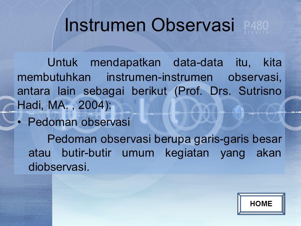 Instrumen Observasi