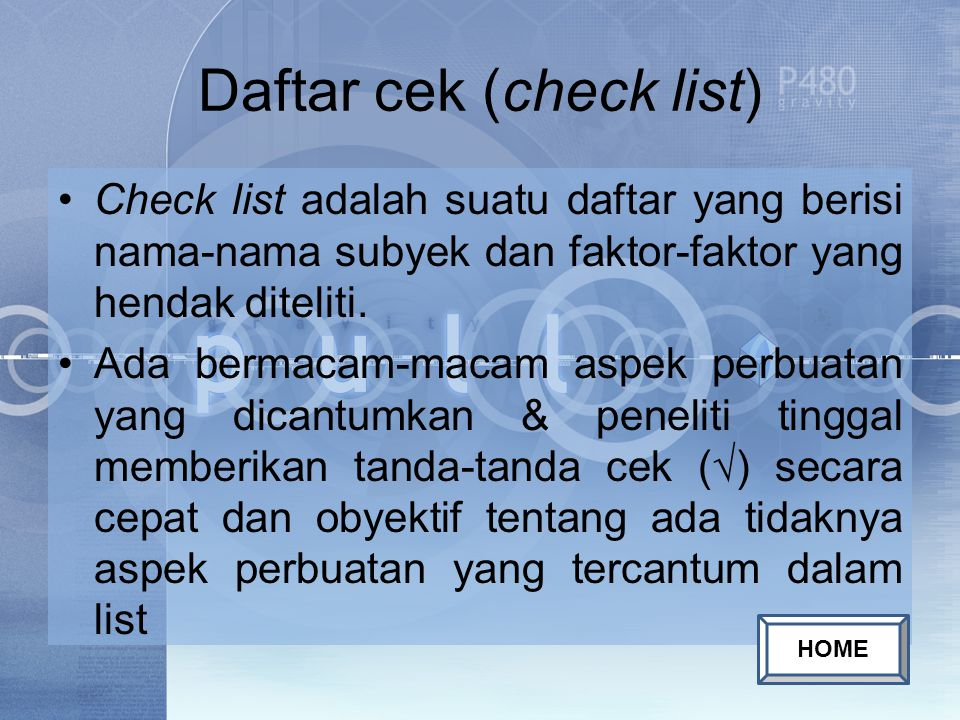 Daftar cek (check list)