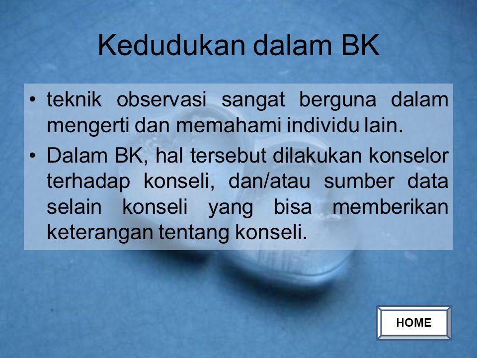 Kedudukan dalam BK teknik observasi sangat berguna dalam mengerti dan memahami individu lain.