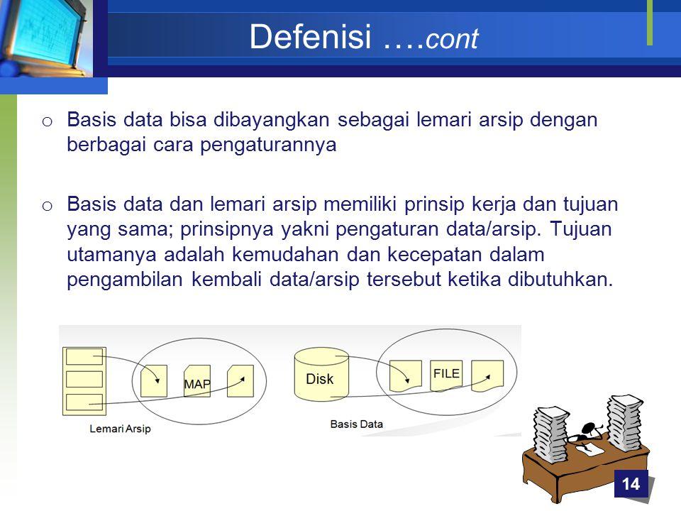 Defenisi ….cont Basis data bisa dibayangkan sebagai lemari arsip dengan berbagai cara pengaturannya.
