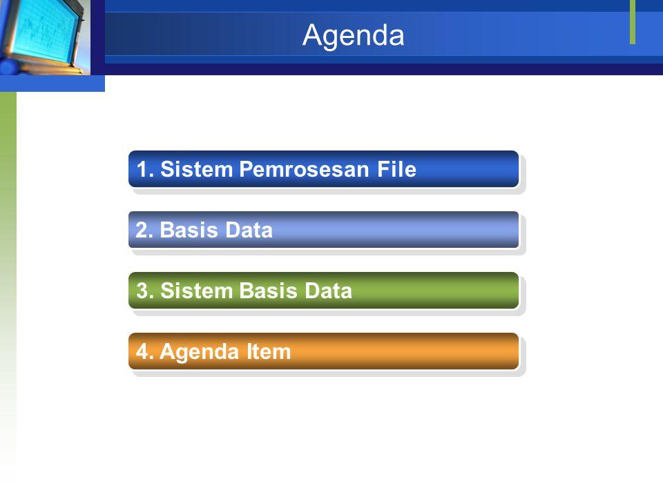 Agenda 1. Sistem Pemrosesan File 2. Basis Data 3. Sistem Basis Data