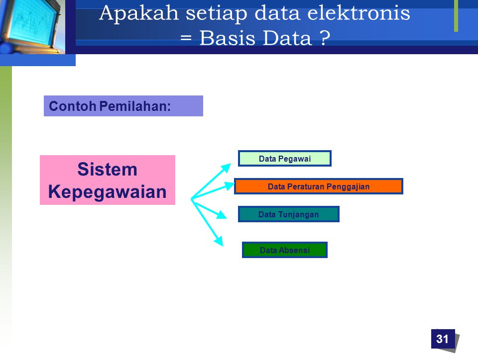 Apakah setiap data elektronis = Basis Data