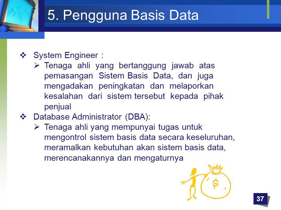 5. Pengguna Basis Data System Engineer :