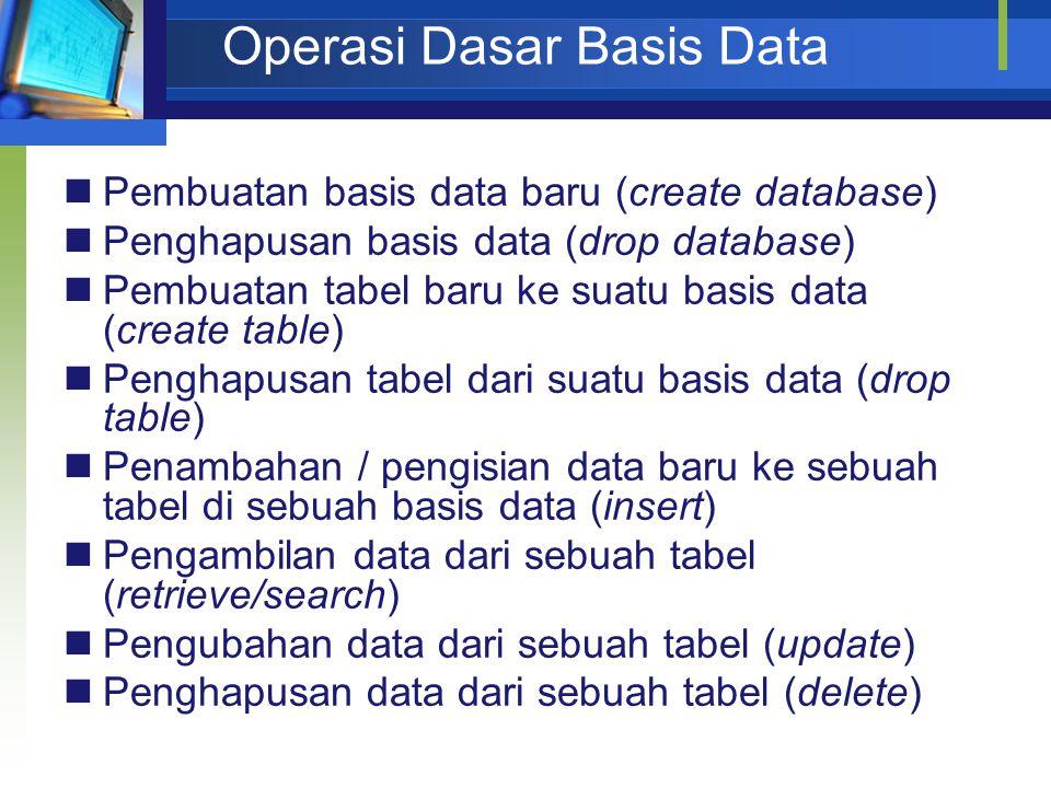 Operasi Dasar Basis Data