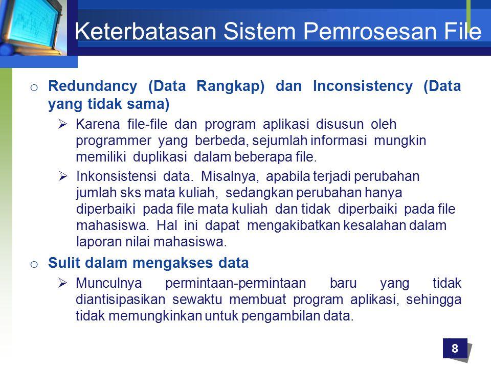 Keterbatasan Sistem Pemrosesan File