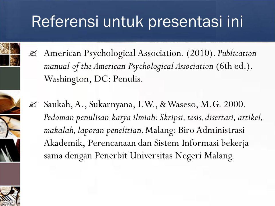 Referensi untuk presentasi ini