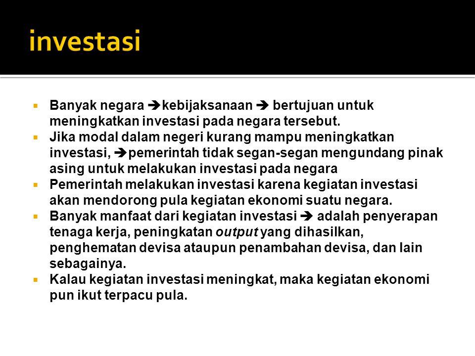 investasi Banyak negara kebijaksanaan  bertujuan untuk meningkatkan investasi pada negara tersebut.