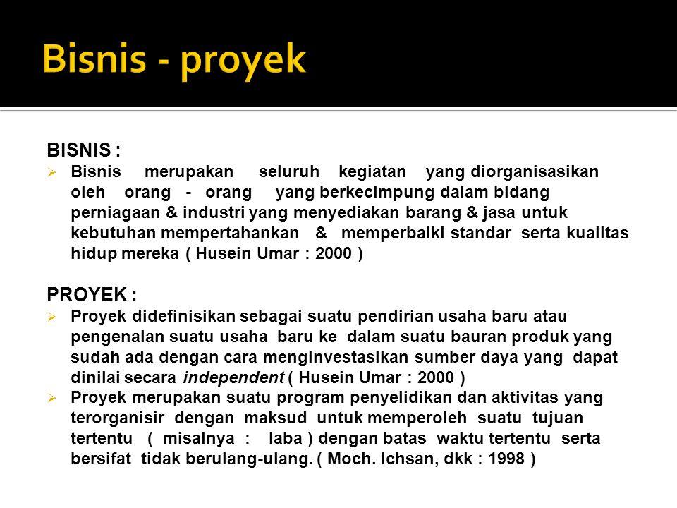 Bisnis - proyek BISNIS : PROYEK :