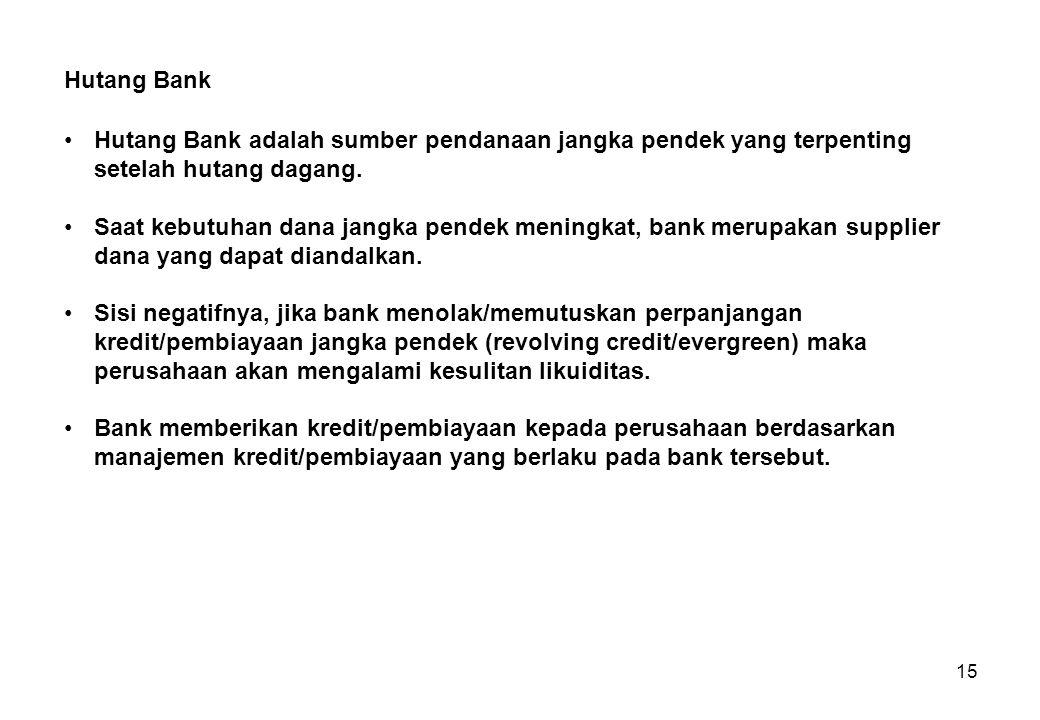 Hutang Bank Hutang Bank adalah sumber pendanaan jangka pendek yang terpenting setelah hutang dagang.