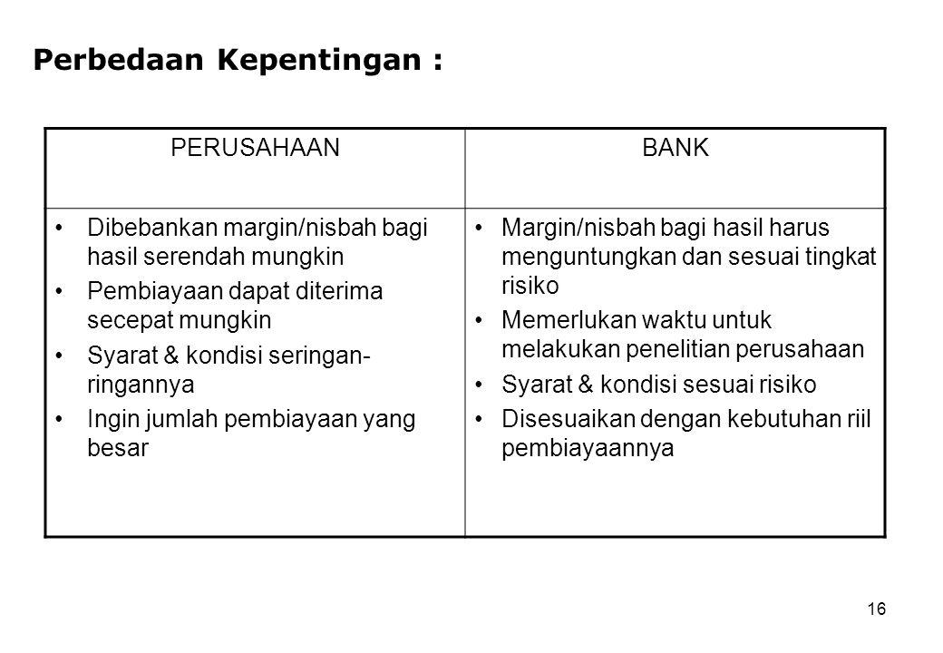Perbedaan Kepentingan :