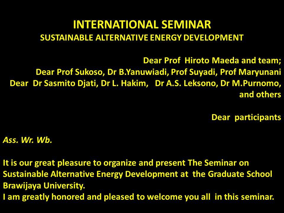 INTERNATIONAL SEMINAR SUSTAINABLE ALTERNATIVE ENERGY DEVELOPMENT