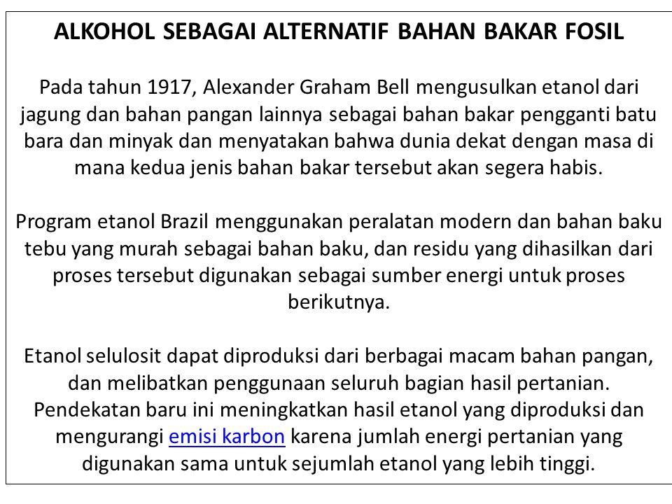 ALKOHOL SEBAGAI ALTERNATIF BAHAN BAKAR FOSIL
