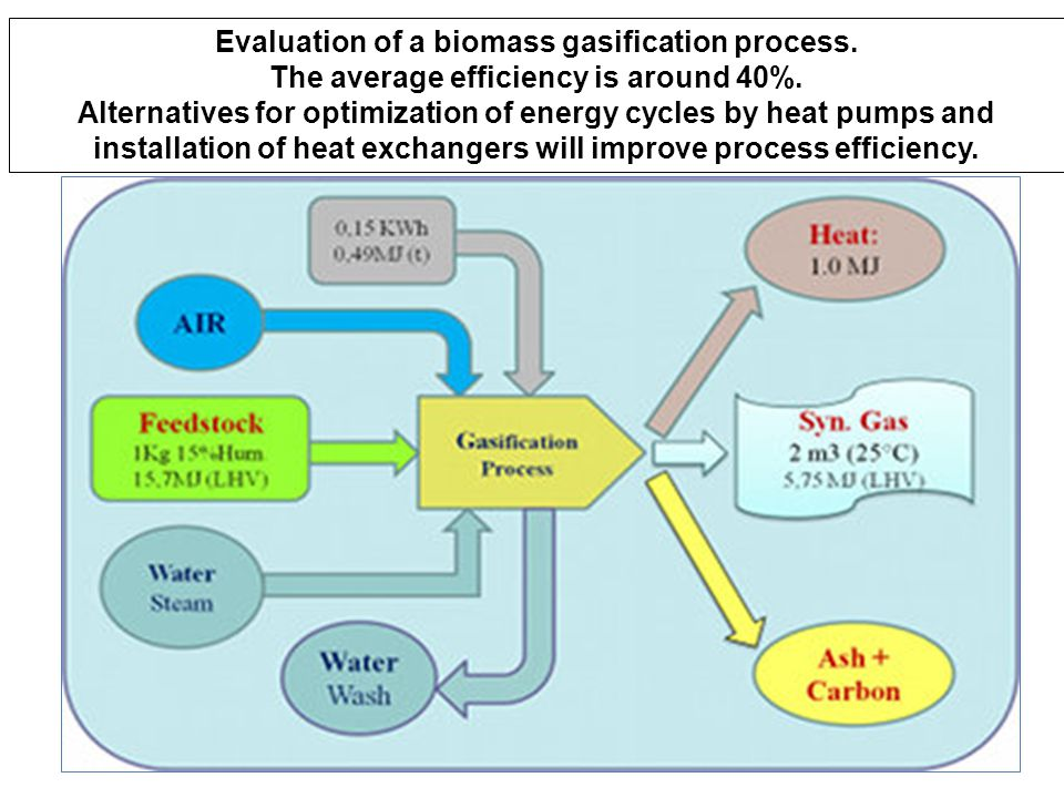 Evaluation of a biomass gasification process.