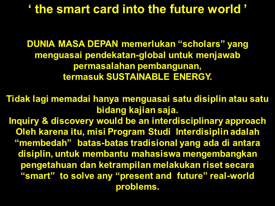' the smart card into the future world '