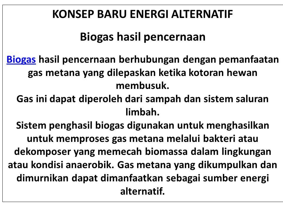 KONSEP BARU ENERGI ALTERNATIF Biogas hasil pencernaan