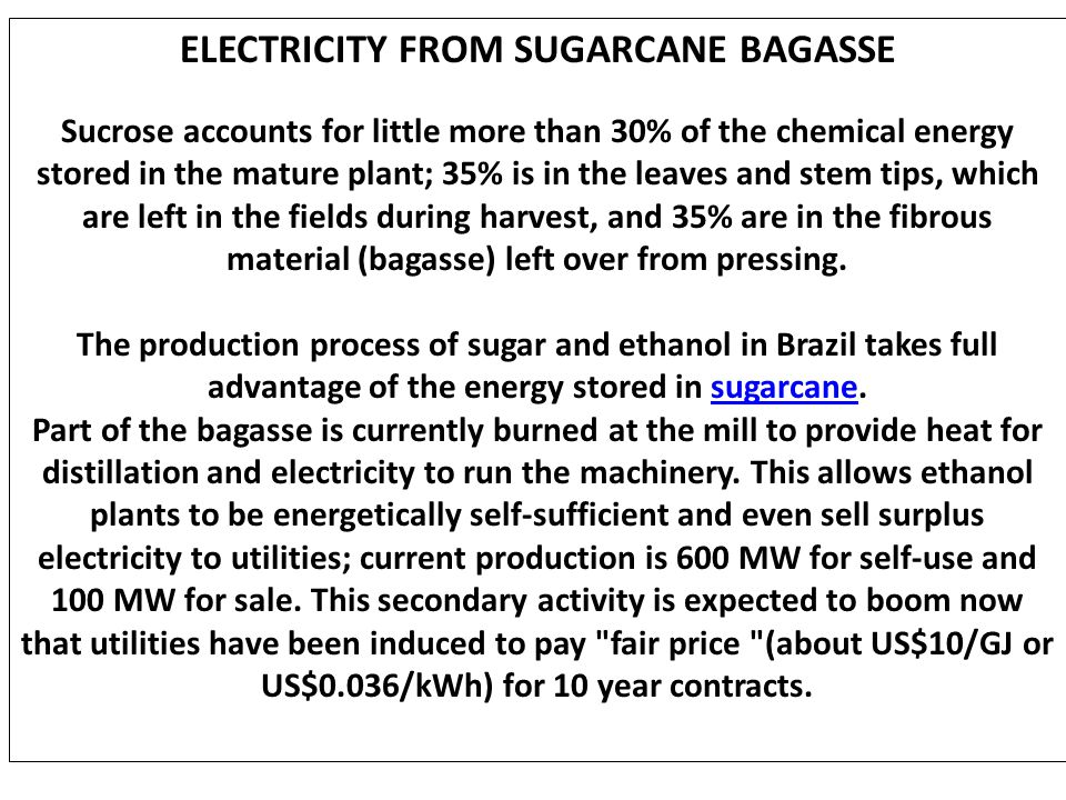 ELECTRICITY FROM SUGARCANE BAGASSE