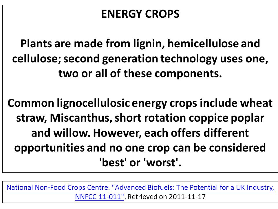 ENERGY CROPS Plants are made from lignin, hemicellulose and cellulose; second generation technology uses one, two or all of these components.
