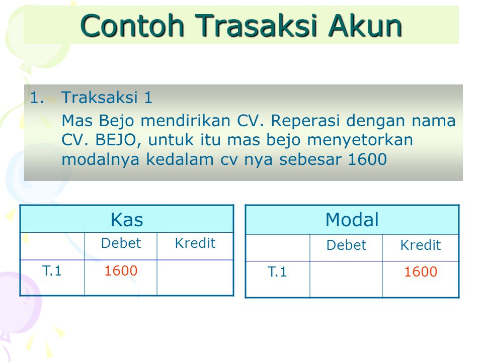 Contoh Trasaksi Akun Kas Modal Traksaksi 1