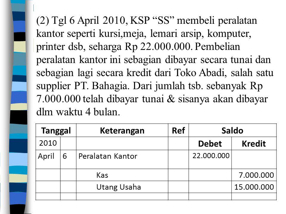 (2) Tgl 6 April 2010, KSP SS membeli peralatan kantor seperti kursi,meja, lemari arsip, komputer, printer dsb, seharga Rp 22.000.000. Pembelian peralatan kantor ini sebagian dibayar secara tunai dan sebagian lagi secara kredit dari Toko Abadi, salah satu supplier PT. Bahagia. Dari jumlah tsb. sebanyak Rp 7.000.000 telah dibayar tunai & sisanya akan dibayar dlm waktu 4 bulan.