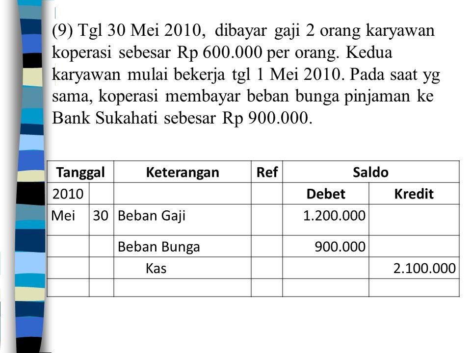 (9) Tgl 30 Mei 2010, dibayar gaji 2 orang karyawan koperasi sebesar Rp 600.000 per orang. Kedua karyawan mulai bekerja tgl 1 Mei 2010. Pada saat yg sama, koperasi membayar beban bunga pinjaman ke Bank Sukahati sebesar Rp 900.000.
