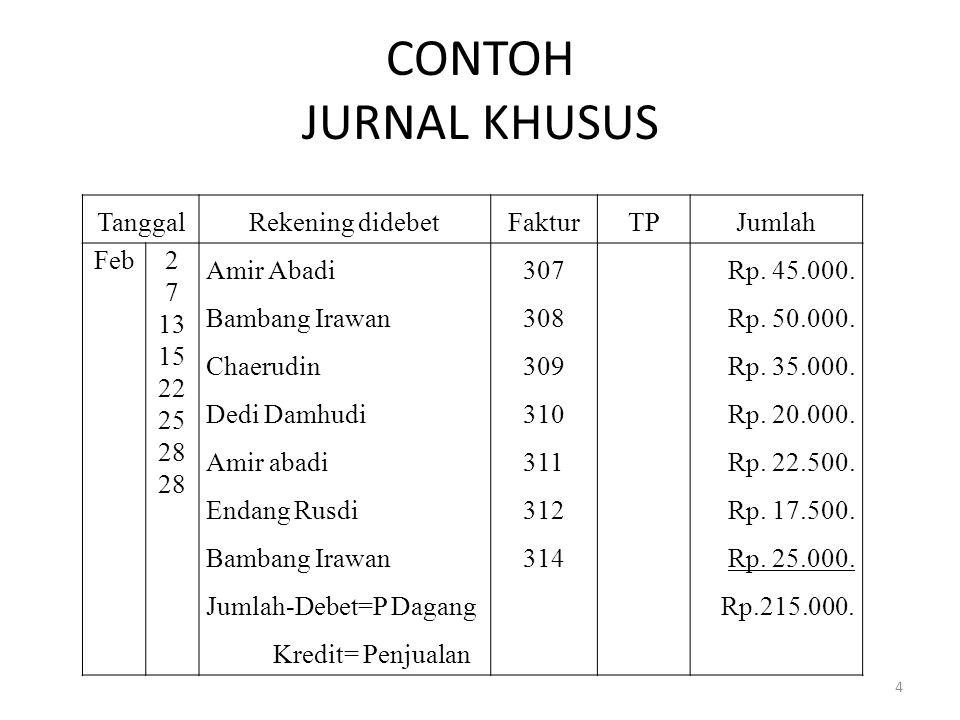 CONTOH JURNAL KHUSUS Tanggal Rekening didebet Faktur TP Jumlah Feb 2 7